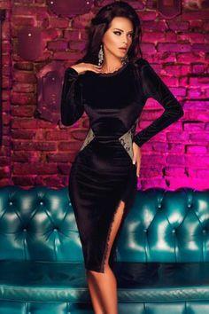 New Sexy Women Midi Dress Splice Open Back Side Split Zipper Long Sleeves Bodycon Cocktail Party Clubwear Black l black Online Shopping Tight Dresses, Sexy Dresses, Evening Dresses, Prom Dresses, Midi Dresses, Formal Dresses, Elegant Dresses, Beautiful Dresses, Idda Van Munster