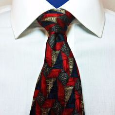 Designer J Z Richards 100% Silk Neck Tie Red Black Men's Necktie Made in USA #JZRichards #NeckTie