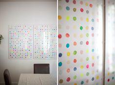 x4duros.com: DIY: Estampar cuadros con patatas. Lunares de colores