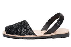Avarca sandal, aka menorquina, Classic Style Glitter avarca Pons in Black color by Avarcas USA