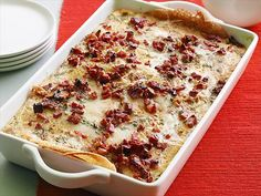 Breakfast Lasagna : Giada De Laurentiis' morning riff on lasagna trades the expected lasagna noodles for golden crepes made with chickpea flour; the crepes separate layers of egg custard, cheese and pancetta. Breakfast And Brunch, Breakfast Lasagna, Mothers Day Breakfast, Breakfast Recipes, Breakfast Ideas, Hangover Breakfast, Brunch Bar, Brunch Foods, Breakfast Sandwiches