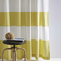 West Elm citron and white striped shower curtain as curtain?