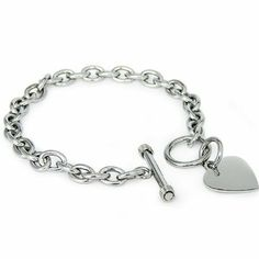 High Polished Stainless Steel Heart Charm Cable Chain Bracelet with Toggle Clasp (Length: - Charm Jewelry, Jewelry Bracelets, Fine Jewelry, Mom Jewelry, Jewellery, Jewelry Shop, Jewelry Accessories, Monogram Bracelet, Heart Bracelet
