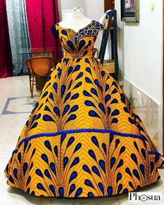 Would you rock this to your prom, your wedding, a costume party, dinner, awards night or where? Outfit by African Fashion Ankara, Latest African Fashion Dresses, African Print Fashion, African Dresses For Kids, African Prom Dresses, Ball Gown Dresses, Women's Dresses, Ball Gowns Prom, Formal Dresses