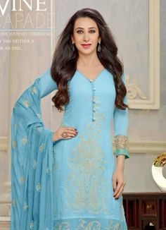 Karishma Kapoor In Sky Blue Embroidered Salwar Suit