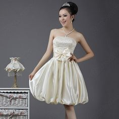 Discount China china wholesale Sequin Bodice Strapless Bow Tie Balloon Skirt Party Wedding Dress [31044] - US$37.49