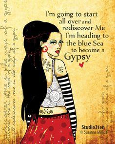 Gypsy Art Print original illustration ART Print Hand SIGNED | Etsy