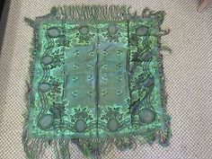 Very-RARE-Antique-Signed-K-A-Almgren-Stockholm-Silk-Weave-Fringe-Shawl-Scarf