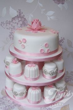 pink and white mini cakes
