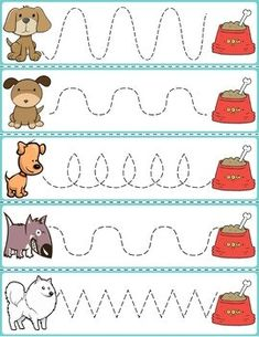 Trace The Pattern: Dogs & Food Bowls Kids Activities At Home, Preschool Learning Activities, Free Preschool, Math For Kids, Toddler Learning, Teaching Kids, Prewriting Skills, Preschool Writing, Kindergarten Math Worksheets