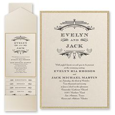 Elegant Deco - Invitation with Pocket and Backer. Available at Persnickety Invitation Studio. Art Deco Wedding Invitations, Affordable Wedding Invitations, Bridal Shower Invitations, Party Invitations, Wedding Stationary, Elegant Couple, Pocket Invitation, Wedding Entertainment, Entertainment Ideas