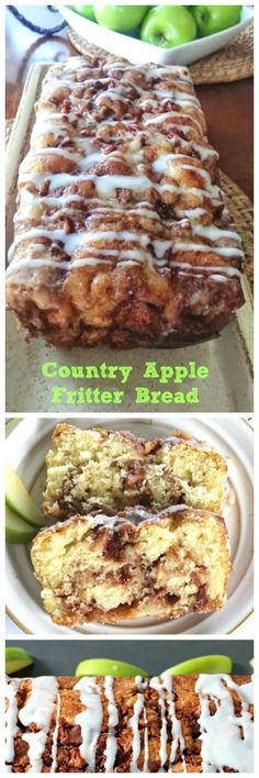 Awesome Country Apple Fritter Bread! Have you ever had an apple fritter transformed into fluffy, buttery, white cake loaf with chunks of juicy apples and layers of brown sugar and cinnamon swirled inside and on top?    Drizzle with some old-fashioned creme glaze and devour!   It's so moist, so delicious and full of home-made goodness straight from your heart, because why?  Because YOU made it!