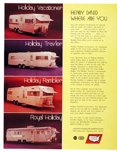 vintage trailers imagaes | 1972 Holiday Travel Trailers Classic Vintage Print Ad