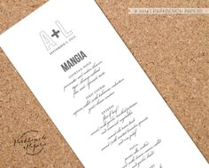 Wedding menu card - Modern Script Style - Customized with your information -  Printable, Custom Color  $17.00 |  www.parkbenchpaperie.etsy.com