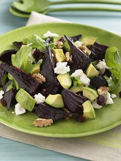 beet and goat cheese salad with orange vinaigrette (mine looked a lot like this - minus the avocados)