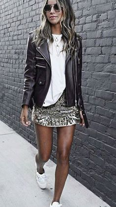 2bb7adea0f06 Black Bicker Jacket   White Tee   Sequins Skirt   White Sneakers Not quite  warm enough for these outfits to be winter ideas