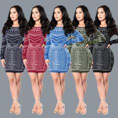 Classic Wave Digital Printing Bandage Dress Nightclub