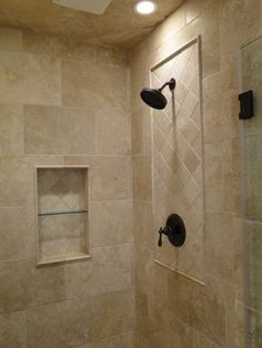 Travertine custom shower