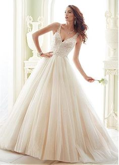 Junoesque Tulle V-neck Neckline A-line Wedding Dresses With Embroidery