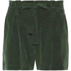 L'Agence Alex washed silk-crepe shorts featuring polyvore, women's fashion, clothing, shorts, army green, army green shorts, olive shorts, l agence shorts, pleated shorts and olive green shorts