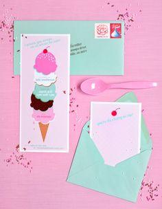 CUTE and FREE ice cream themed party invitation! More darling ideas, too! Via Kara's Party Ideas KarasPartyIdeas.com