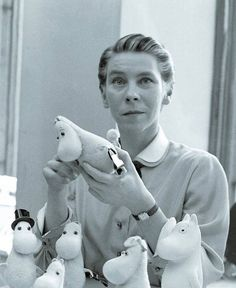 Tove Jansson with her Moomins in 1956 Photograph by Reino Loppinen