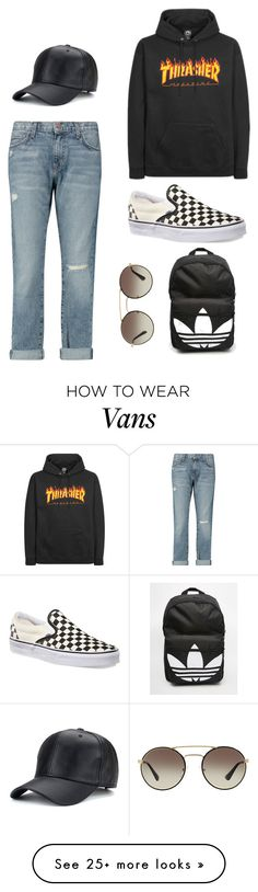 """thrasher"" by juliyagrig on Polyvore featuring Current/Elliott, Vans, Prada and adidas"