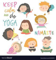 Yoga kids set gymnastics for children and healthy vector image on VectorStock Yoga For Kids, Exercise For Kids, Free Vector Images, Vector Free, Namaste Yoga, Cartoon Kids, How To Do Yoga, Yoga Fitness, Cute Boys