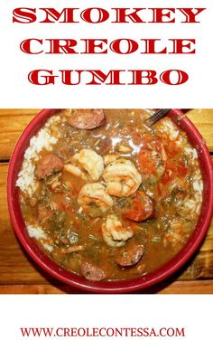 Smoky Shrimp and Chicken Gumbo Smokey Creole Gumbo recipe; cold fall nights are perfect weather for hearty,spicy gumbo.serve it with warm french bread and a green salad.makes me anxious for football! Creole Gumbo Recipe, Creole Recipes, Cajun Recipes, Seafood Recipes, Soup Recipes, Cooking Recipes, Haitian Recipes, Louisiana Recipes, Gumbo Recipes