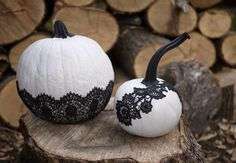 Black lace on white halloween fall pumpkins