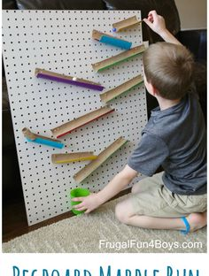 Engineering for Kids: Build a Changeable Pegboard Marble Run