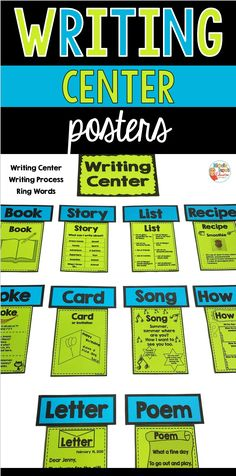 This writing center packet has everything you need to set up in the classroom. Writing center posters, writing process and ring words. Three versions are available: black and white, glittery green and polka dots. Primary Classroom, Classroom Ideas, Writing Process Posters, Teaching French, Teacher Hacks, Educational Activities, Teaching Tips, Motivate Yourself, Classroom Management