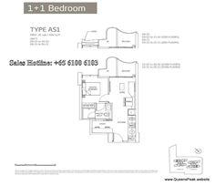 queens peak floor plan 1+1 bedroom-as1