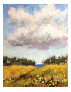 """Daily Paintworks - """"Little White Cloud"""" - Original Fine Art for Sale - © Suzanne Woodward"""