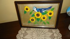 Framed Quilled Bird and Sunflowers - by: Стела Николова-Bulgaria