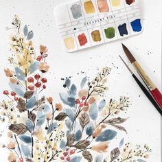 Art Drawings For Kids, Art Drawings Sketches Simple, Painting & Drawing, Watercolor Paintings, Watercolor Trees, Watercolor Animals, Watercolor Techniques, Watercolor Background, Watercolor Landscape