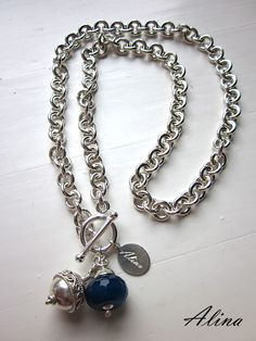 Sterling silver necklace with a bali silver and agate stone pendant