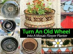 Turn an old wheel into a planter