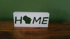 Home Wisconsin Hand Painted Wood Shelf Sitter by SignsandDesignsbyAMA on Etsy