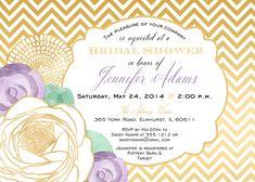 Bridal Shower Invitation and personalized advice card, Lavender, Mint, Gold Chevron
