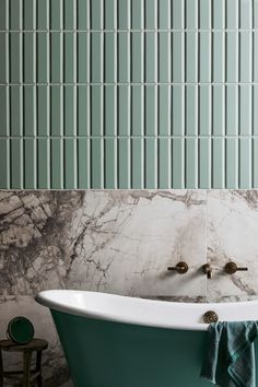 Planning a bathroom renovation? Check out the latest trends in tiles for your project. Textured finishes, patterned designs and large format tiles, the collections in this article focus on the key tile trends for Home Interior, Bathroom Interior, Modern Bathroom, Small Bathroom, Dream Bathrooms, Textured Tiles Bathroom, Green Bathroom Tiles, Ceramic Tile Bathrooms, Stone Bathroom