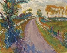 A country road in Groningen By Johan Dijkstra ,Circa  1930