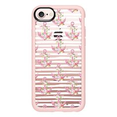 Pink Anchors with Flowers on Striped Background - iPhone 7 Case And... ($40) ❤ liked on Polyvore featuring accessories, tech accessories, iphone case, apple iphone case, pink iphone case, iphone cover case, clear flower iphone case and flower iphone case