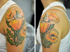 Beautiful poppy tattoo. I love the soft orange color.