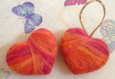 Merino Wool Keepsake Hearts by Crazeevanilla Crafts.