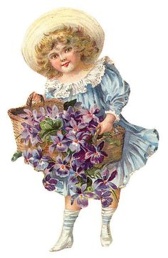 little girl in blue holding basket of violets