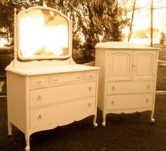 Shabby Chic Dresser Set. $835.00, via Etsy.