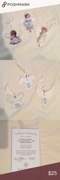 """Angel Ornaments Limited Edition """"Heaven's Little Angels"""" Ornament Collection. Bradford Edition's. Set of 3. Other"""