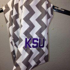 K-State Wildcats grey/white Chevron Infinity scarf- jersey knit lighweight