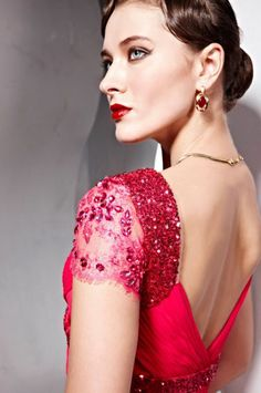 V-neck Fuchsia Dresses for Formal Evening Party